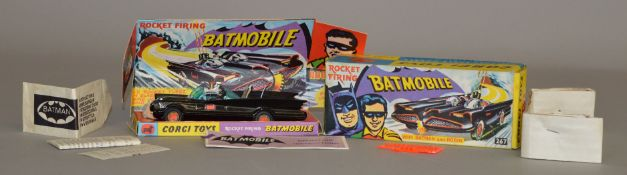 Corgi Toys #267 Batmobile, boxed with card display plinth, instructions, partial set of rockets.