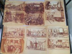 Doctor Dolittle (1967) printed storyboards by Mentor Huebner (production illustrator)depicting
