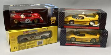 4 Ferrari 1/18 scale racing car models. All boxed.