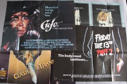 Collection of 14 Horror & Sci-Fi genre British Quad film posters titles include Friday the 13th Part