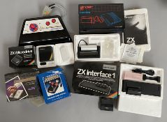 Selection of retro games console / personal computer accessories including a Sinclair ZX Microdrive,