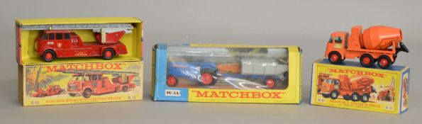 3x Vintage Boxed Matchbox King size models including #K-11 Fordson Tractor and trailer, K-15