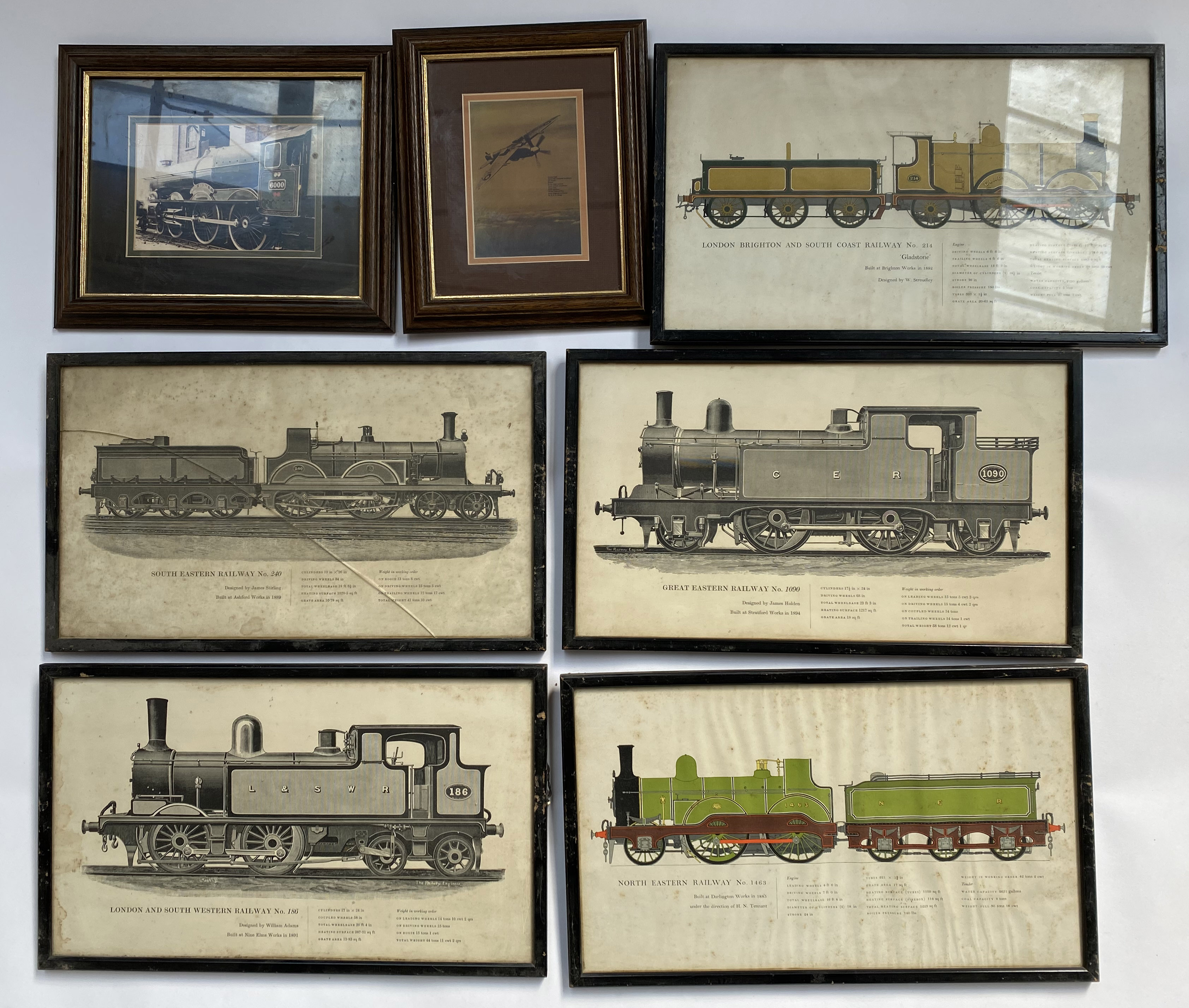 Lot 441 - 7 framed railway-related prints.