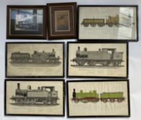 7 framed railway-related prints.