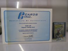 Stan Lee hand signed trading card from 2002 with certificate of authenticity from Cards Inc. The