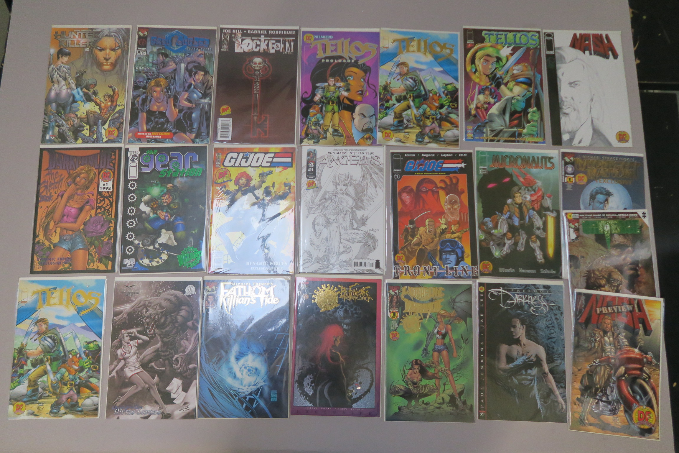 Lot 6 - Collection of 22 limited edition exclusive comics including Witchblade Darkchylde, Micronauts, G. I.