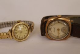 Two 9ct H/M mechanical wristwatches, a gents Accurist & a ladies Wempe, both working