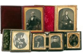 Five Ambrotype Portraits, Two in Union Cases.