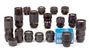 A Good Group of Fujica, Chinon & Other M42 Screw Mount Lenses.