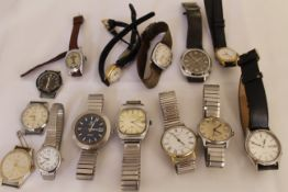 A quantity of wristwatches to include Tisot Sideral Automatic fiberglass gents wristwatch(ticks &
