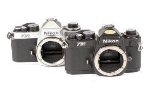 Black Nikon FE2 Body & A Chrome FE2 Body.