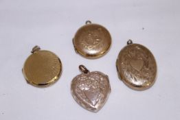Four 9ct back & front lockets of various shapes & sizes, approx gross weight 15.4gms