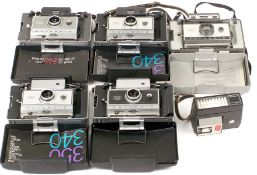 Group of Five Folding Polaroid Land Instant Print Cameras.