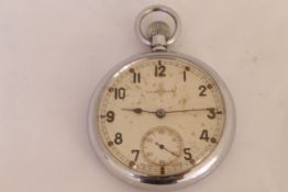 A Leonidas military nickel pocket watch, with broad arrow & G.S.T.P T30691 on case back, dial with