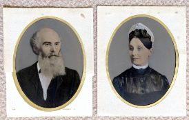A Pair of Rare Whole Plate Tin Types of a Husband & Wife.