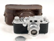 Leica IIIc with Elmar 5cm f3.5 Lens, Cap & Case.