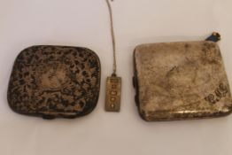 Two H/M silver cigarette cases together with a silver ingot pendant, approx gross weight 266gms