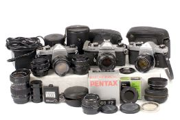 Group of Pentax PK and Screw Mount Cameras & Lenses.