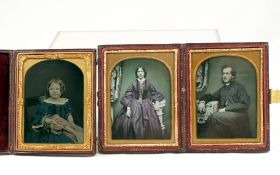 Hand-Tinted Quarter Plate Ambrotype Portraits, inc a Girl & Her Doll.