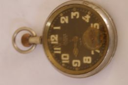 OMEGA Luminous 30 hour military nickel pocket watch, with broad arrow on case back, non-working, for