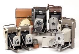 Group of Five Polaroid Land Cameras, including Model 110A with 'Frankenstein' covering!