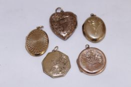 Five 9ct back & front lockets of various shapes & sizes, approx gross weight 16.5gms