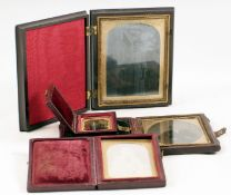 A Small Daguerreotype of a Lady & Three Ambrotypes, One in a Union Case.