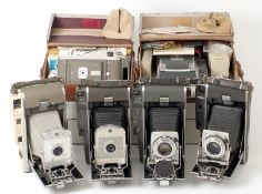 Group of Five Polaroid Land Cameras, inc Pathfinder 110A with Yasrex 127mm Lens.