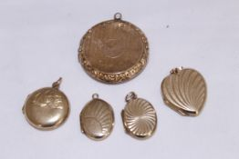 Five 9ct back & front lockets ov various shapes & sizes, approx gross weight 16.9gms