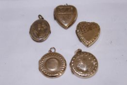 Five 9ct back & front lockets of various shapes & sizes, approx gross weight 17.7gms