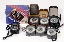 Group of Seven Gossen Exposure Meters, inc Luna Pro.