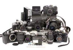Group of Cameras to Include Minolta SR-1, XG-1, Konica etc.