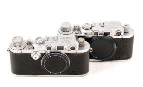 Two Leica Bodies, Leica III & an early Leica II.