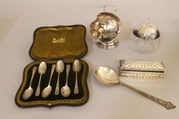A boxed quantity of silver and silver plated items, approx gross silver weight 209g PLEASE BE