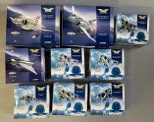 9 Corgi Aviation Archive Jet Fighter Power model aircraft: AA33201, AA33202, AA32405, 49402, 2x AA32
