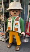 A large Playmobil life size shop display figure of a Saurus team member. Approx 150cm tall.