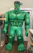 A large life size The Incredible Hulk inflatable, over 7 feet tall. Possible slow puncture as