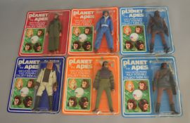 6x Vintage Mego Planet Of The Apes carded figures - note these are not sealed to the cards.