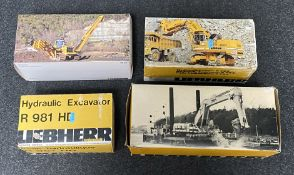 4x Liebherr construction vehicle models including Conrad and IMC models examples, all boxed.