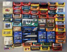 63 assorted Corgi bus models. All boxed.