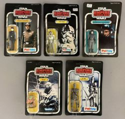 5 vintage Star Wars figures on ESB Empire Strikes Back cards - all still sealed: Imperial Commander,