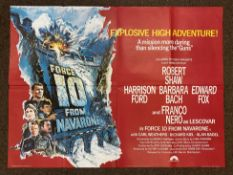 Force 10 From Navarone British Quad film poster, folded.