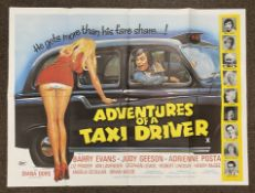 Adventures Of A Taxi Driver British Quad film poster, folded.