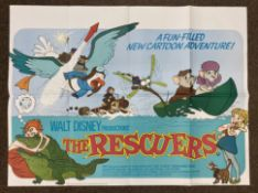Walt Disney Productions The Rescuers British Quad film poster, folded.