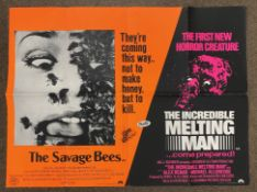 The Savage Bees plus The Incredible Melting Man double-bill British Quad film poster, folded.