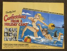 Confessions From A Holiday Camp British Quad film poster, folded.