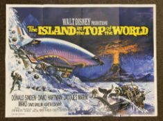 Walt Disney Productions The Island On Top Of The World British Quad film poster, folded.