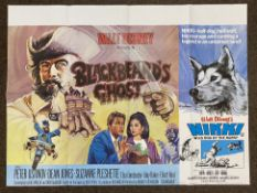 Walt Disney Blackbeard's Ghost and Nikki Wild Dog Of The North double-bill British Quad film poster,
