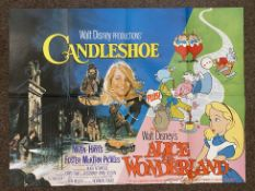 Walt Disney Candleshoe and Alice In Wonderland double-bill British Quad film poster, folded.