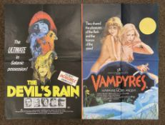 The Devil's Rain and Vampyres double-bill British Quad film poster, folded.